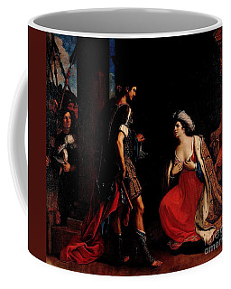 Coffee Mug featuring the painting Cleopatra And Octavian by Pg Reproductions