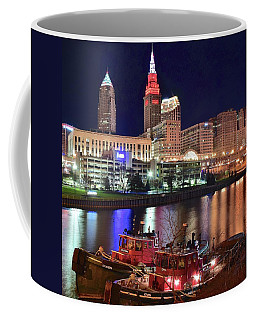 Coffee Mug featuring the photograph Cleveland And Tug Boats by Frozen in Time Fine Art Photography