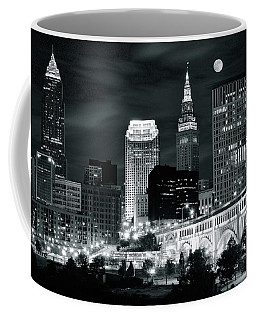Cleveland Iconic Night Lights Coffee Mug by Frozen in Time Fine Art Photography