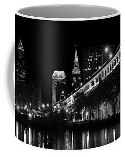 Cleveland In Black And White Coffee Mug by Ann Bridges
