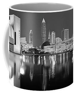 Cleveland Skyline At Dusk Black And White Coffee Mug