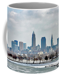 Cleveland Skyline In Winter Coffee Mug