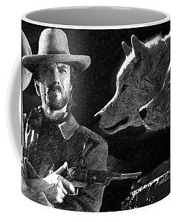 Coffee Mug featuring the painting Clint Eastwood With Wolves by Ericamaxine Price