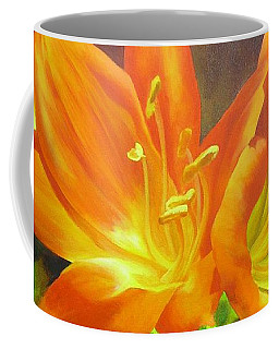 Coffee Mug featuring the painting Clivias by Chris Hobel