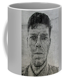 Coffee Mug featuring the drawing Close Self Portrait by Denny Morreale