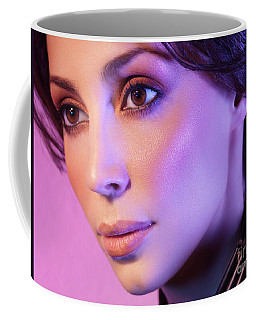 Closeup Beauty Portrait Of Woman Face In Colored Purple Light Coffee Mug