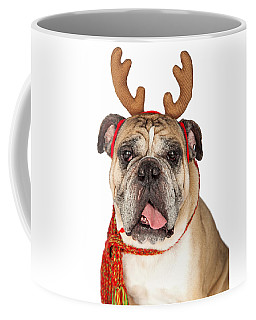 Closeup Of Christmas Reindeer Dog Coffee Mug