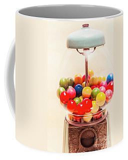 Closeup Of Colorful Gumballs In Candy Dispenser Coffee Mug