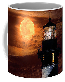 Closeup Of Full Moon Rising Over St Augustine Lighthouse Coffee Mug