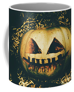 Closeup Of Halloween Pumpkin With Scary Face Coffee Mug