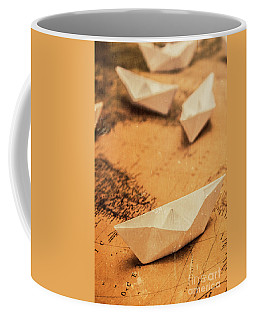 Closeup Toned Image Of Paper Boats On World Map Coffee Mug