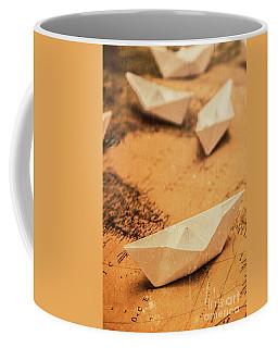 Closeup Toned Image Of Paper Boats On World Map Coffee Mug