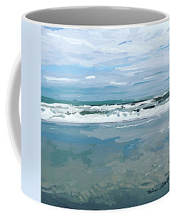 Cloud Reflections With Surfer And Tanker  Coffee Mug