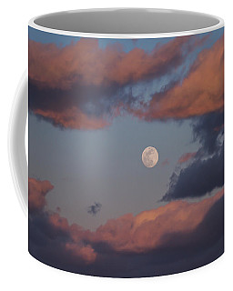 Coffee Mug featuring the photograph Clouds And Moon March 2017 by Terry DeLuco