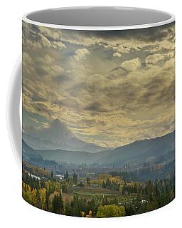 Clouds And Sun Rays Over Mount Hood And Hood River Oregon Coffee Mug