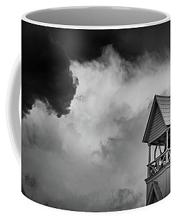 Clouds Over Bell Tower In Black And White Coffee Mug