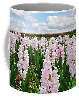 Clouds Over The Pink Hyacinth Field Coffee Mug by Mihaela Pater