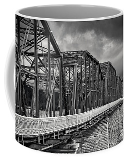 Clouds Over Walnut Street Bridge In Black And White Coffee Mug