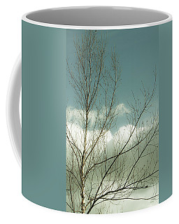 Coffee Mug featuring the photograph Cloudy Blue Sky Through Tree Top No 1 by Ben and Raisa Gertsberg