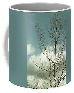 Coffee Mug featuring the photograph Cloudy Blue Sky Through Tree Top No 2 by Ben and Raisa Gertsberg