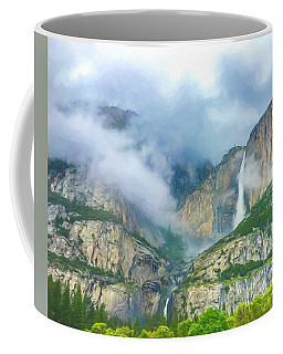 Cloudy Day At Yosemite Falls Digital Watercolor Coffee Mug