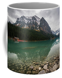 Coffee Mug featuring the photograph Cloudy Fall Day At Lake Louise by James Udall
