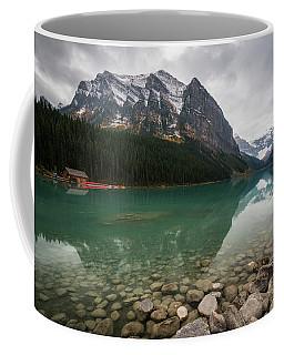 Cloudy Fall Day At Lake Louise Coffee Mug