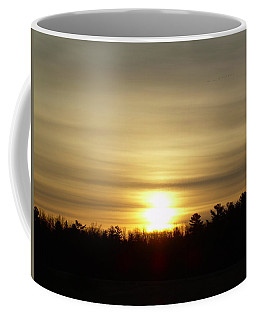 Coffee Mug featuring the photograph Cloudy Golden Sky At Dawn by Kent Lorentzen