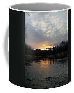 Coffee Mug featuring the photograph Cloudy Mississippi River Sunrise by Kent Lorentzen