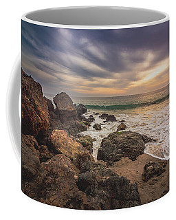 Coffee Mug featuring the photograph Cloudy Point Dume Sunset by Andy Konieczny