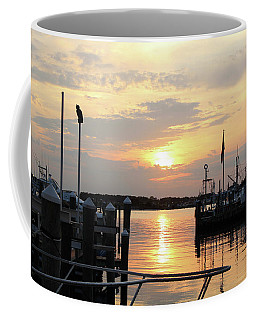 Coffee Mug featuring the photograph Cloudy Sunset At The Marina by Robert Banach