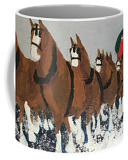 Coffee Mug featuring the painting Clydsdale Horses Bringing Home The Tree by Donald J Ryker III