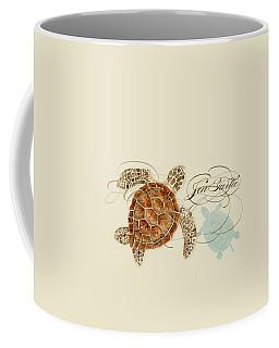 Coastal Waterways - Green Sea Turtle Rectangle 2 Coffee Mug by Audrey Jeanne Roberts
