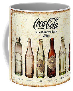 Coca-cola Bottle Evolution Vintage Sign Coffee Mug by Tony Rubino