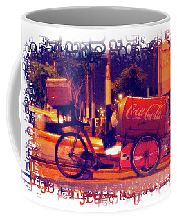 Coffee Mug featuring the photograph Coca Cola Tricycle Bin - Lima by Mary Machare