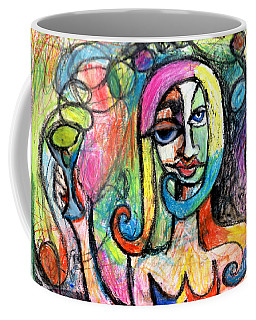 Coffee Mug featuring the mixed media Hippy Chic Funky Color Pop Cocktail by Genevieve Esson