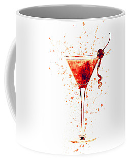 Cocktail Drinks Glass Watercolor Red Coffee Mug