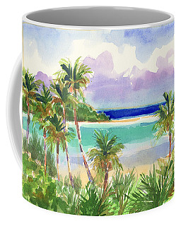 Coffee Mug featuring the painting Coconut Palms And Lagoon, Aitutaki by Judith Kunzle