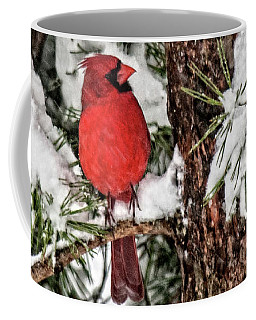 Coffee Mug featuring the photograph Coffee Cup Cardinal Closeup by Lara Ellis