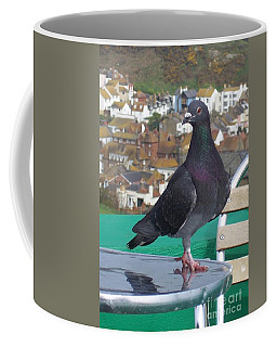 Coffee Mug featuring the photograph Coffee Shop Pigeon by Jolanta Anna Karolska