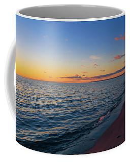 Coffee Mug featuring the photograph Cold Lake Michigan Sunset by Rachel Cohen