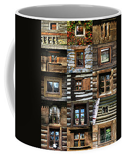 Collage From Handmade Traditional Wooden  Windows In Village Museum Bucharest Coffee Mug