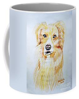 Collie Mix Dog Sketched Art Coffee Mug