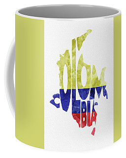 Colombia Typographic Map Flag Coffee Mug