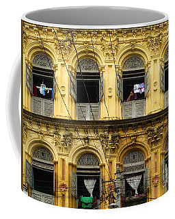 Colonial Facade Bo Soon Pat Street 8th Ward Central Yangon Burma Coffee Mug by Ralph A  Ledergerber-Photography