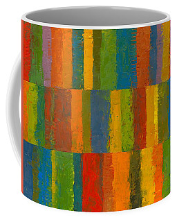 Coffee Mug featuring the painting Color Collage With Stripes by Michelle Calkins