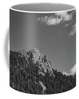 Coffee Mug featuring the photograph Colorado Buffalo Rock With Waxing Crescent Moon In Bw by James BO Insogna