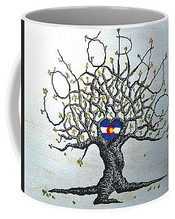 Coffee Mug featuring the drawing Colorado Flag Love Tree by Aaron Bombalicki