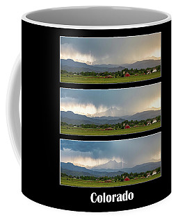 Coffee Mug featuring the photograph Colorado Front Range Longs Peak Lightning And Rain Poster by James BO Insogna