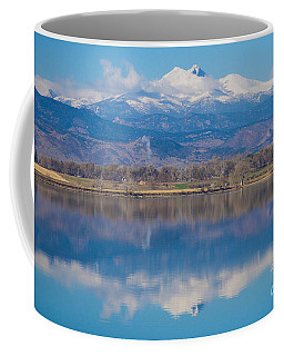 Colorado Longs Peak Circling Clouds Reflection Coffee Mug